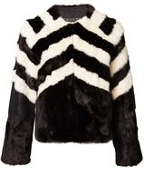 Matthew Williamson Black & White Mink Fur Jacket