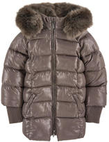 Mayoral Sequined padded jacket with a false fur hood
