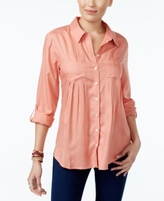 Style&Co. Style & Co Style & Co Petite Roll-Tab Shirt, Created for Macy's