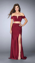 La Femme Charming Off the Shoulder Two-piece Jersey Dress 23963