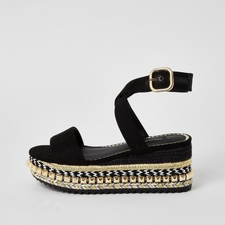 River Island Black studded flatform wedge wide fit sandals
