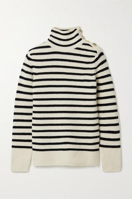 Tory Burch Striped Wool And Cashmere-blend Turtleneck Sweater - Ivory