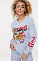 PrettyLittleThing Grey Chicago Slogan Oversized Sweater