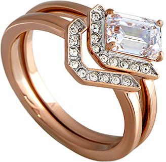 Swarovski Crystal Rose Gold Plated Set Of Rings