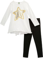 Dollie & Me Ivory & Black Tunic Set & Doll Outfit - Girls
