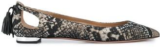 Aquazzura Forever Marilyn snakeskin-effect ballerina shoes