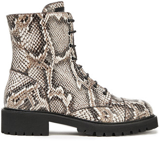 Giuseppe Zanotti Lace-up Snake-effect Leather Ankle Boots