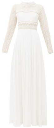 Self-Portrait Lace-panelled Pleated-crepe Maxi Dress - Womens - Ivory