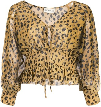 Nicholas Leopard Print Fitted Blouse