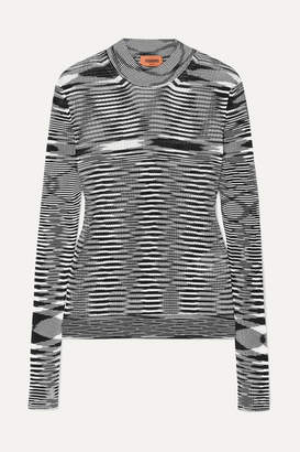 Missoni Striped Ribbed Crochet-knit Sweater - Black