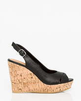 Le Château Leather-Like Peep Toe Wedge Slingback