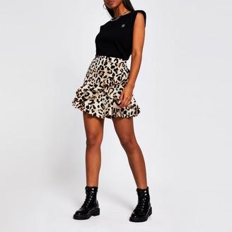 River Island Womens Brown leopard print frill mini skirt