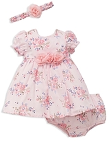Little Me Girls' Blossoms Dress, Bloomers & Headband Set - Baby