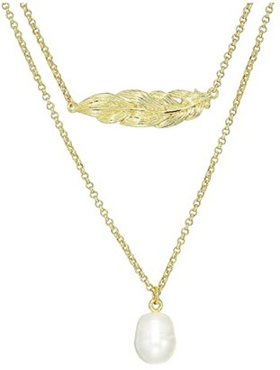 J.Crew Feather and Pearl Layering Necklace