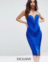 Rare London Sweetheart Pencil Dress With Fringing
