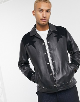 Asos EDITION leather harrington jacket in black with metalwork and suede
