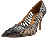 Kay Unger Kaeden Women W Pointed Toe Leather Gray Heels.