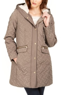 Cole Haan Hooded Fleece-Lined Quilted Jacket