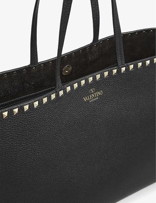 Valentino Rockstud grained-leather shopper