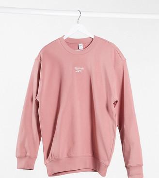 Reebok boyfriend fit sweatshirt with central logo in pink exclusive to ASOS