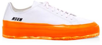 MSGM Contrast Sole Leather Low-Top Sneakers