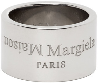 Maison Margiela Silver Polished Wide Logo Ring