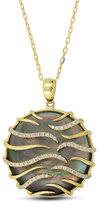 Frederic Sage Luna Small 18k Yellow Gold Black Mother-of-Pearl Pendant Necklace