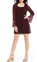 Sequin Hearts Bell-Sleeve Chiffon Shift Dress
