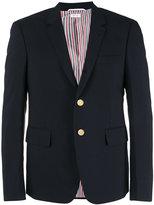 Thom Browne notched lapel blazer - men - Cupro/Wool - 3