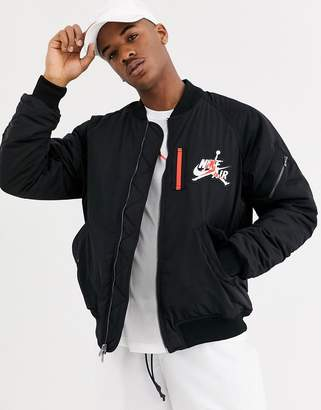Jordan Nike Wings MA1 fleece lined bomber jacket with chest and back embroidery in black