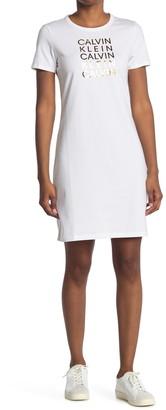 Calvin Klein Metallic Multi Logo T-Shirt Dress