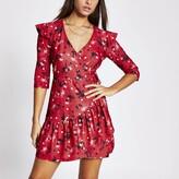 River Island Womens Red floral long sleeve frill hem wrap dress