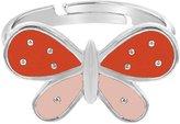 In Season Jewelry Rhodium Plated Pink Enamel Butterfly Adjustable Toddler Girls Kids Ring
