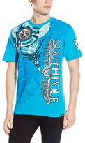 Southpole Men's High Definition Foil and Print T-Shirt with Asymmetric Vertical Logo