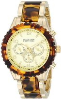 August Steiner Women's AS8093YG Swiss Quartz Multifunction Gold-tone & Tortoise Bracelet Watch