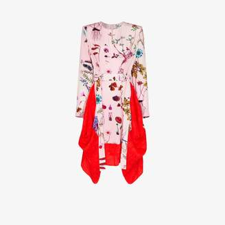 Stella McCartney Womens Pink Belted Floral Asymmetric Dress