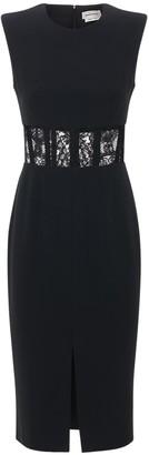 Alexander McQueen Leaf Crepe Lace Knee Dress W/ Corset