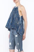 Free People Blue Printed Sleeveless Top