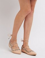 Charlotte Russe Laser Cut Lace-Up Flats