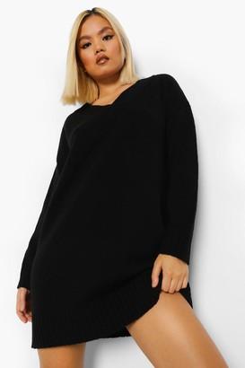 boohoo Petite V Neck Knitted Dress