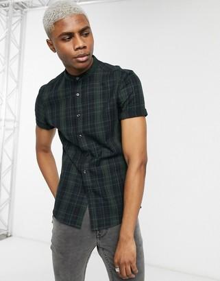 Asos DESIGN skinny fit check grandad collar shirt in khaki