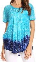Sakkas 17781 - Mira Tie Dye Two Tone Sheer Cap Sleeve Relaxed Fit Embellished Tunic Top - OS