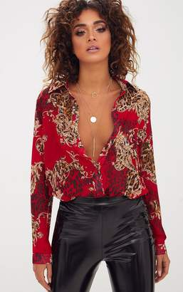 PrettyLittleThing Red Baroque Print Chiffon Oversized Shirt