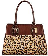Wilsons Leather Womens Roma Double Handle Leopard Leather Satchel W/ Bar Hardwar