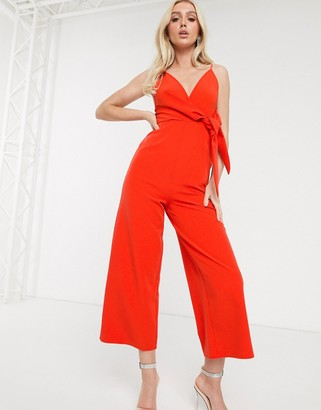 ASOS DESIGN twist front strappy culotte jumpsuit in red