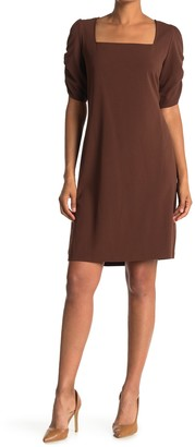 Sharagano Square Neck Ruched Sleeve Dress