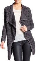 Inhabit Cowl Neck Long Sleeve Linen Blend Cardigan