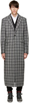 Pyer Moss Grey Wool Check Coat