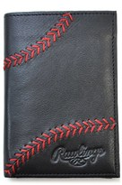 Rawlings Sports Accessories Men's Baseball Stitch Leather Money Clip Wallet - Black