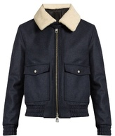 Ami Shearling-collar Zip-through Wool-blend Coat